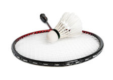 Racket is a badminton and shuttlecock Royalty Free Stock Photography