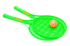 Racket and ball. Green racket and ball on a white background Royalty Free Stock Photo