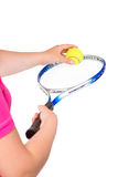 Racket and ball tennis close up on a white royalty free stock image