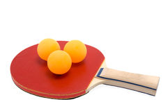 Racket and balls. For play ping pong Royalty Free Stock Image