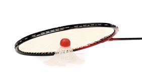 Racket and birdie of badminton. Stock Photos