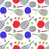 Racket, bollar och fjäderbollar seamless Royaltyfria Foton