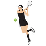 Racket för tennisidrottskvinnabollen isolerade den vita bakgrundsvektorillustrationen Royaltyfria Bilder