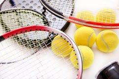 Racket family. Racket sports still life isolated over white Stock Image