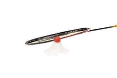 Racket och pippi av badminton. Arkivfoto