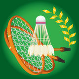 Racket and shuttlecock. For game in badminton. vector. illustration Stock Photo