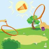 Racket and shuttlecock. For game in badminton. vector. illustration Royalty Free Stock Photography