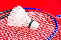 A racket and shuttlecock. On red Stock Image