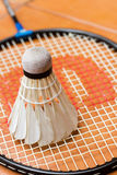 Racket and shuttlecock. A racket and shuttlecock on orange background Royalty Free Stock Photos