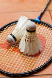 Racket and shuttlecock. A racket and shuttlecock on orange background Stock Images