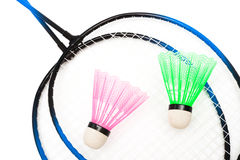 Racket and shuttlecock badminton. On a white background Stock Image