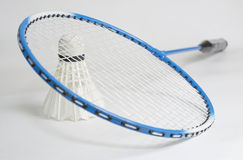 Racket and shuttlecock. Badminton racket and shuttlecock - isolated from background royalty free stock photos