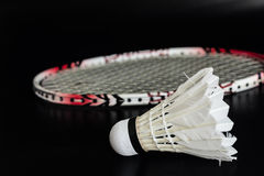 Racket and shuttlecock for badminton sport. Racket and shuttlecock for badminton sport stock images