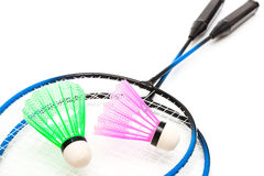 A racket and shuttlecock. Racket and shuttlecock badminton on a white background Stock Photography