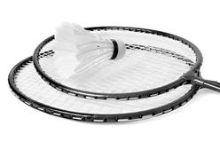 Racket and shuttlecock isolate Royalty Free Stock Images
