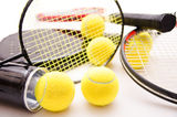 Racket sports still life. Racket sports compilation, isolated over white Royalty Free Stock Photography