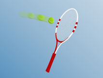 Racket and tennis. On blue background Royalty Free Stock Photo