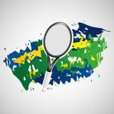 Racket tennis olympic games brazilian flag colors Stock Photos