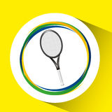 Racket tennis olympic games brazilian flag colors Stock Photography