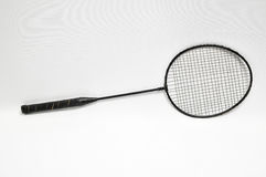 Racket. Vintage Old Used Black Racket on a White Background royalty free stock photo