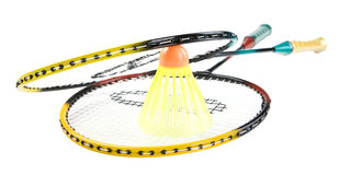 Rackets. Badminton racquets with shuttlecock isolated. Clipping path Royalty Free Stock Images