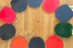 Rackets as a background on the table lie around. Rackets as a background on the table lie stock photo