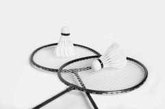 Rackets for badminton and shuttlecock two Stock Photos