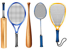 Rackets and bat Royalty Free Stock Images