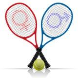 Rackets with tennis ball Stock Photos