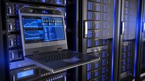 Rackmount консоль СИД в центре данных комнаты сервера иллюстрация вектора