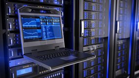 Rackmount LED console in server room data center Stock Photos