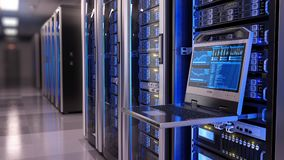 Rackmount LED console in server room data center. 3d illustration