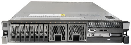 Rackmount server isolated on white. Rack mount server front view isolated on the white Royalty Free Stock Image