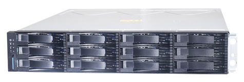 Rackmount storage system. Rack mount disk storage system isolated on the white Stock Photo