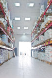 Racks in big industrial warehouse. Royalty Free Stock Photography