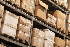 Racks with boxes are in storage. Room Stock Photos