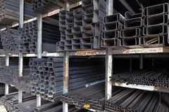 Racks of construction steel pipes Stock Image