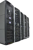 Racks in a datacenter Stock Photos