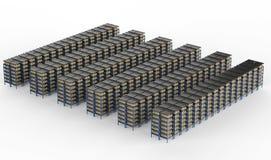 Racks full of carton boxes Stock Image