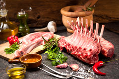 Racks of lamb ready for cooking Royalty Free Stock Images