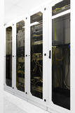 Racks with network equipment Stock Photo