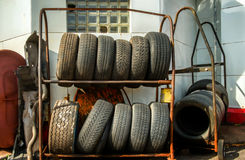 Racks of Old Tires Stock Photo