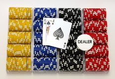 Racks of poker chips Stock Photography