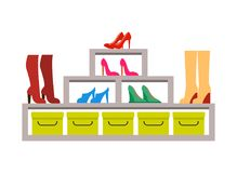 Racks with Various Pair of Shoes, Colorful Banner. Racks with various pair of footwear, colorful banner vector illustration isolated on white background, yellow Vector Illustration