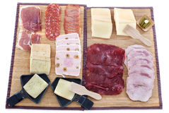 Raclette cheese and meat Royalty Free Stock Photos