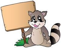 Racoon de dessin animé retenant le panneau en bois illustration libre de droits
