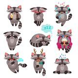 Racoon emotions stickers set. Decorative emotions expression funny raccoon mascot symbols icons  collections of love sadness happiness abstract isolated vector Stock Photo