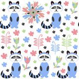 Racoon seamless pattern and seamless pattern in swatch menu, vec Stock Images