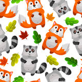 Racoons and foxes. Seamless pattern with cute foxes and raccoons Royalty Free Stock Photography