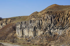 The Racos Basalt Columns. Natural basalt columns in Racos town, Brasov Royalty Free Stock Photography